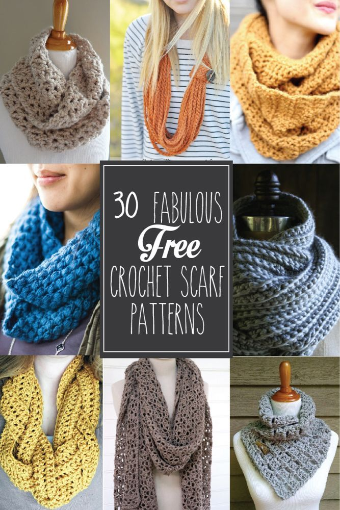 30+ Fabulous and Free #Crochet Scarf Patterns - | T-shirts for men ...