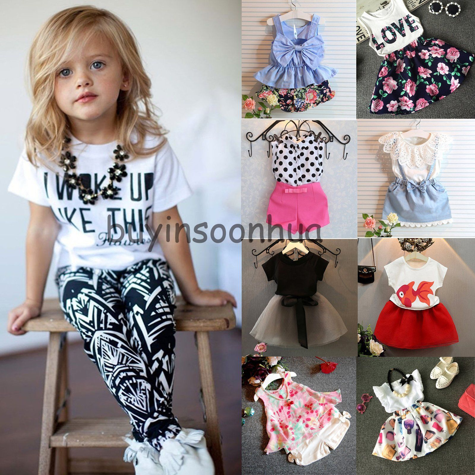 2PCS Kids Toddler Baby Girl Outfit Clothes Top Shirt+Pants Shorts Clothes Set