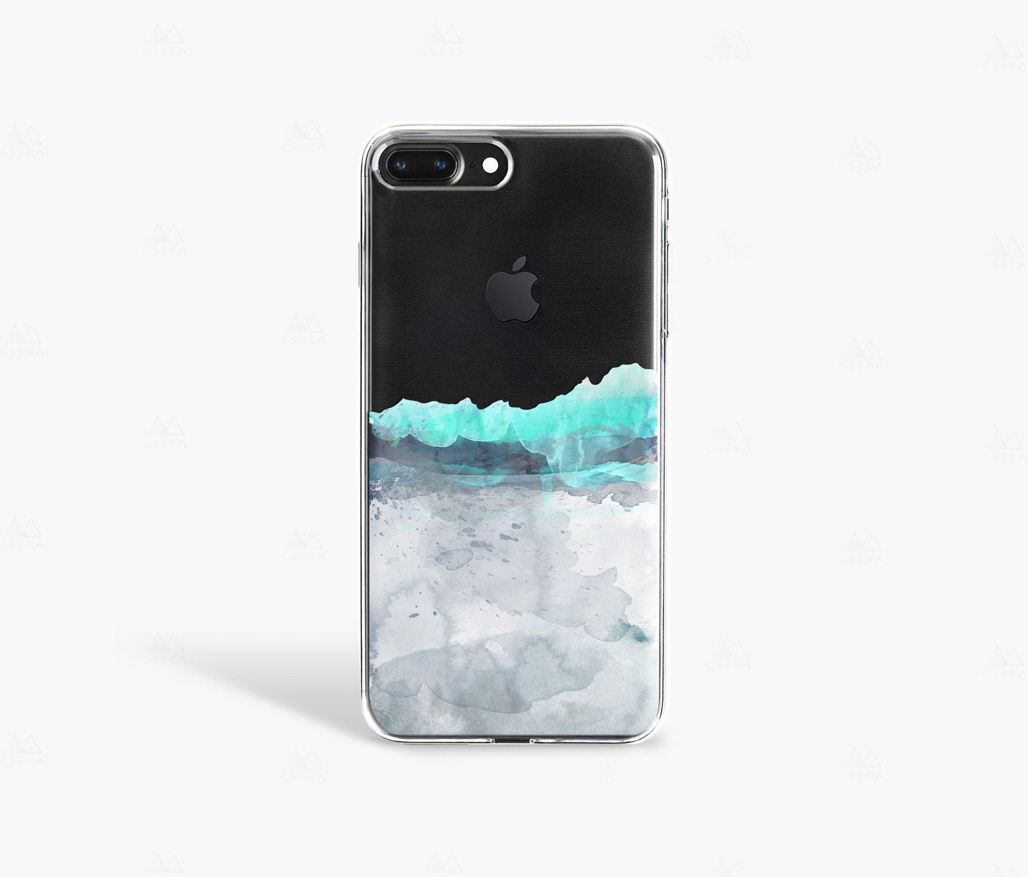 Baby Blue Watercolor On Jet Black Iphone 8 Case Black Iphone 7