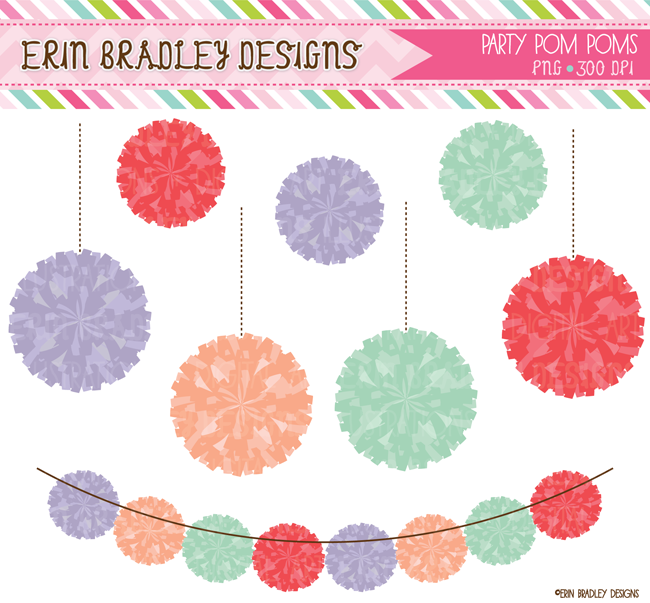 Colorful Pom Poms Commercial Use Clipart