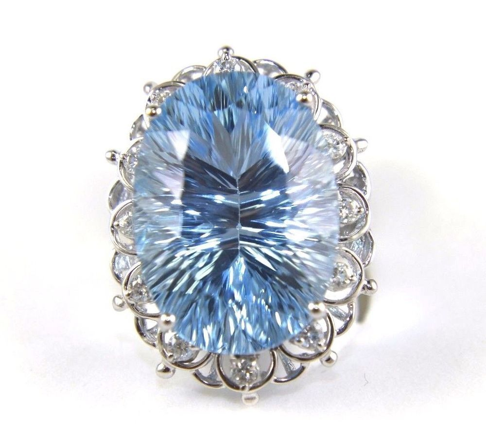 This A Fine Huge London Blue Oval Topaz Cocktail Ring W