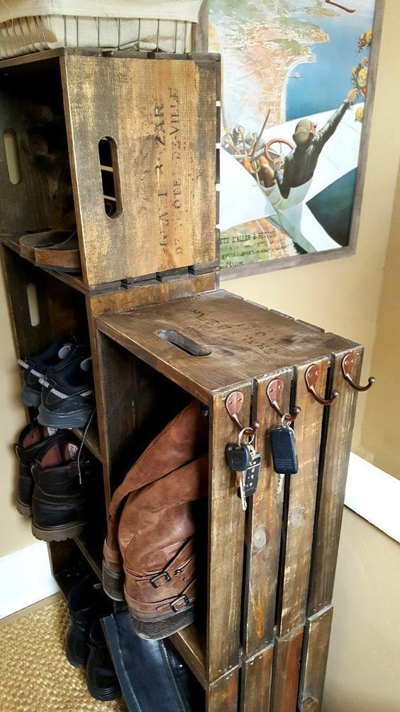 Inspirational Check out how to build an easy rustic DIY wooden crate shoe rack Industry Standard Design New - Modern small woodworking ideas New Design