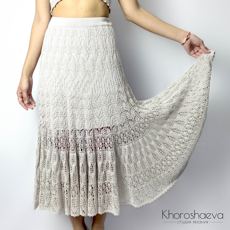 Lace Long Skirt Knitting Pattern // Seameless & Top-Down ...