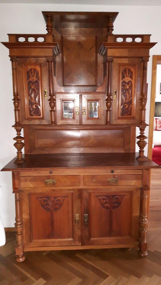 buffetschrank nussbaum und antike wanduhr regulator gr nderzeit antiquit ten kunst. Black Bedroom Furniture Sets. Home Design Ideas