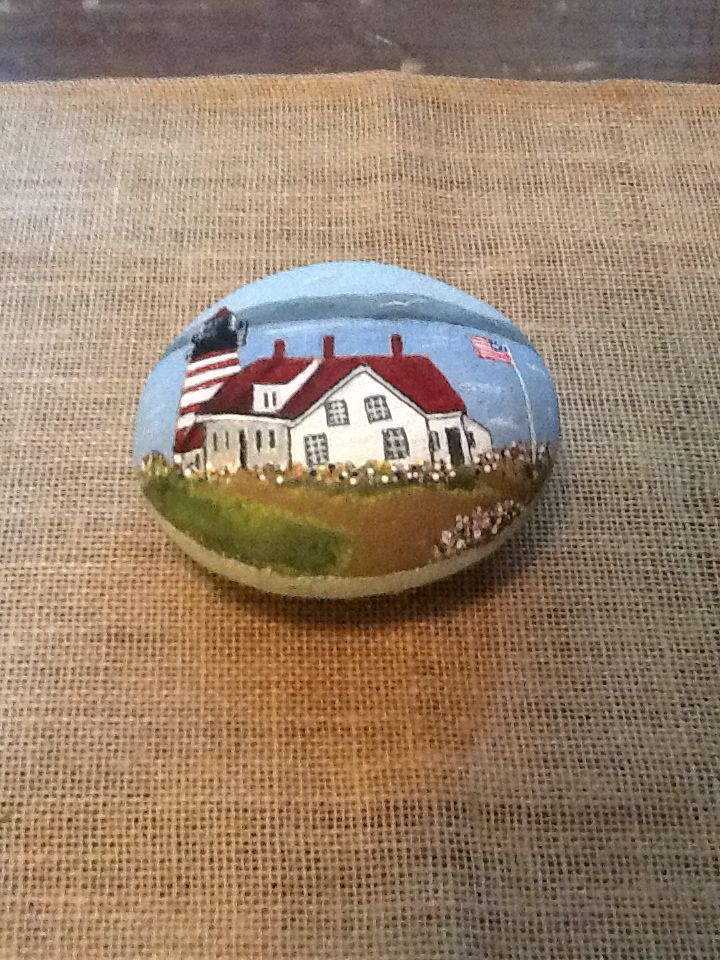 Maine Lighthouse painted rock by Mary G. Baum...beautifully painted lighthouse!!