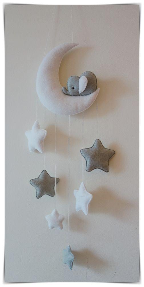 Sleepy Elephant Moon And Stars Nursery Decor Silver Grey White