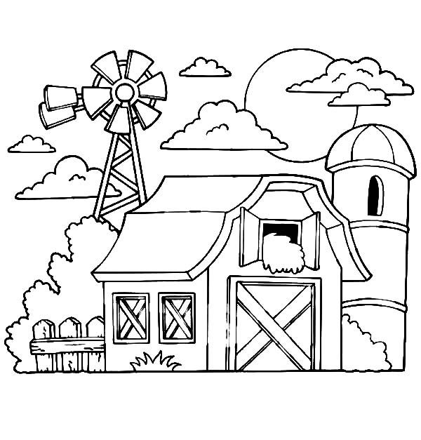 Barn Coloring Pages Barn With Hay In The Loft A Silo And Windmills