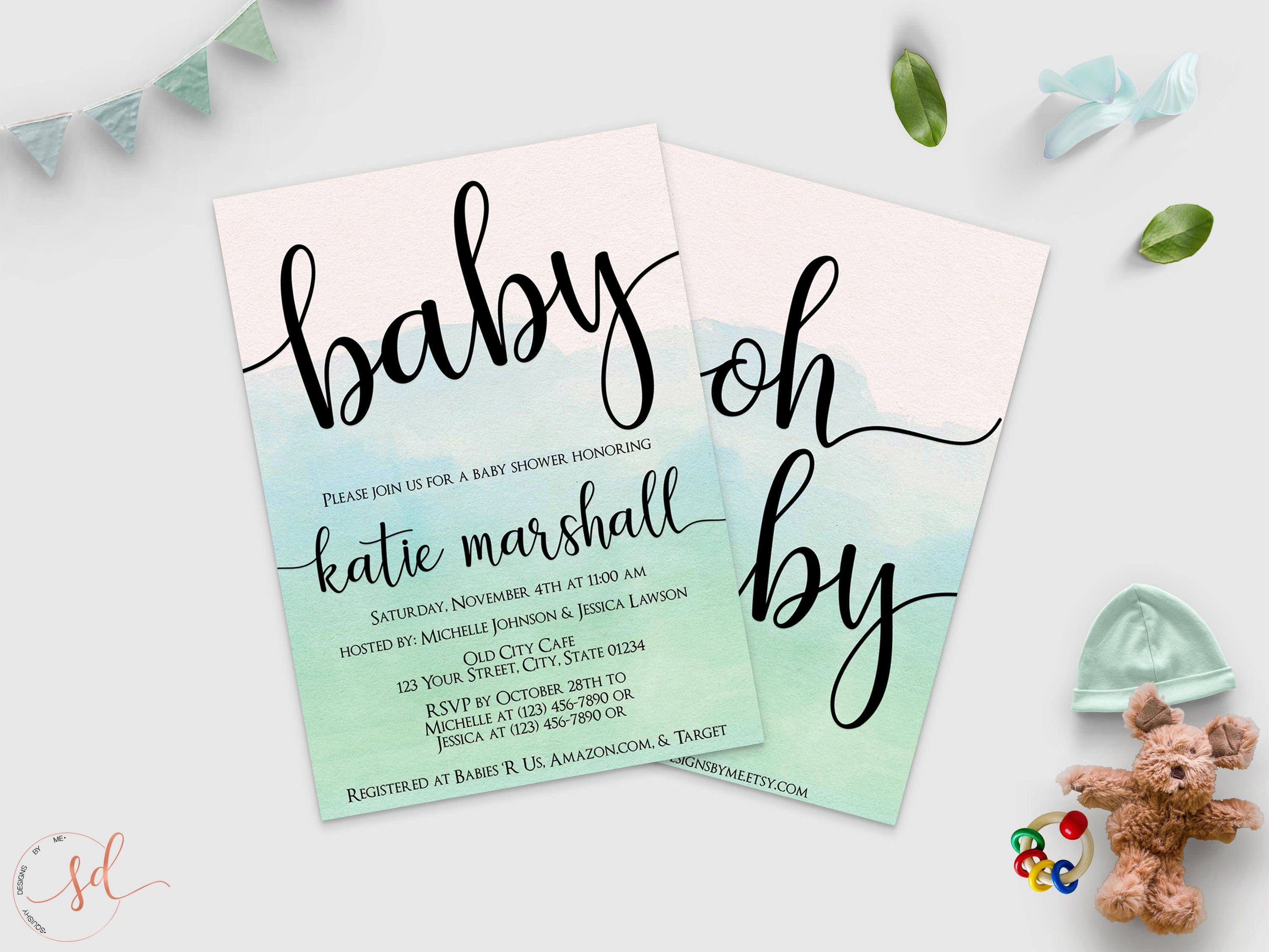 Oh Baby Baby Shower Invitation Mint Green Watercolor Invite
