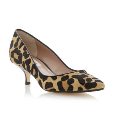 Dune Ladies Multi Alfa Pointed Toe Kitten Heel Court Shoe Dune Shoes Online Heels Leopard Print Shoes Kitten Heels
