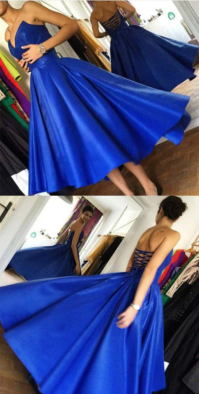 High low hem style satin royal blue prom dresses fashion dresses