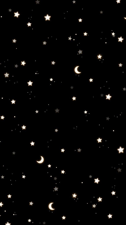 Moon Stars Wallpaper Black Moon And Stars Wallpaper Star Wallpaper Black Star Background
