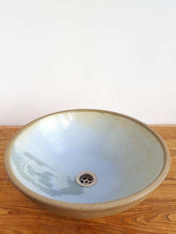 Gray And Light Blue Bathroom Sink Ceramic Sink Vessel Sink Handmade Sink Modern Vessel Sink Modern Bathroom Vanity Sink Gray Sink Light Blue Bathroom Ceramic Sink Ceramic Bathroom Sink