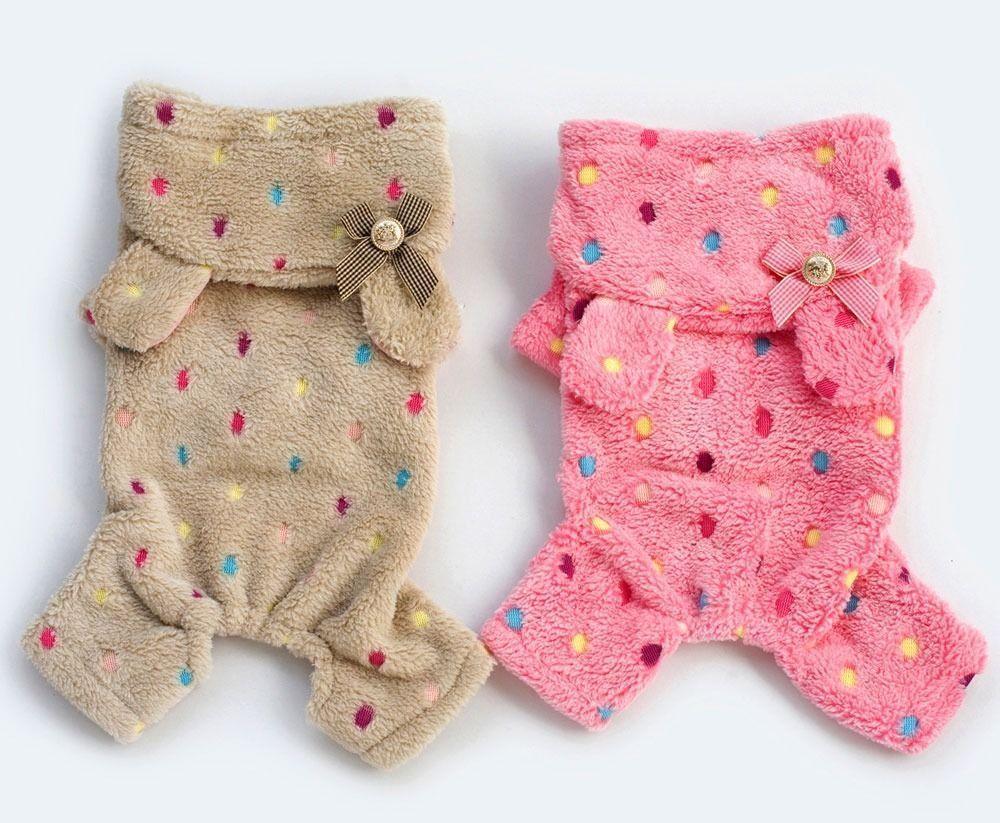 Colorful Dots Hoodie Fleece Jumpsuit Pajamas Small Boy Girl Dog