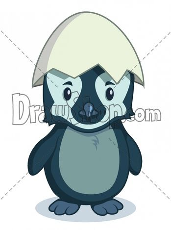 Illustration of a cartoon penguin baby standing with egg shell on his head
