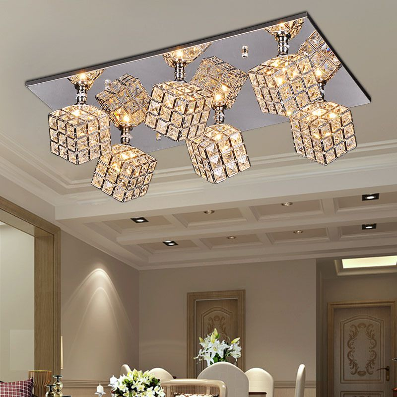 Luxury Crystal Cube Living Room Ceiling Lights Oblong Top Bar     Luxury Crystal Cube Living Room Ceiling Lights Oblong Top Bar Counter Ceiling  Lamp Dining Room Restaurant Ceiling Fixtures
