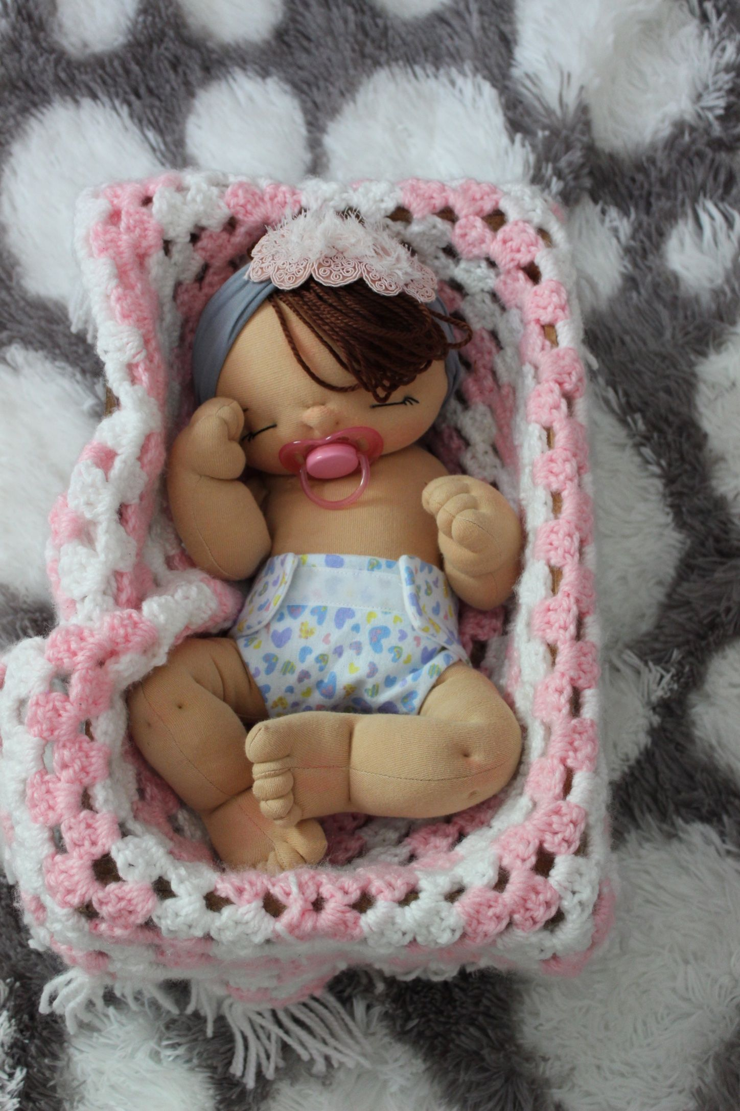Custom preemie size cloth baby doll by Aubrey Barbosa from La