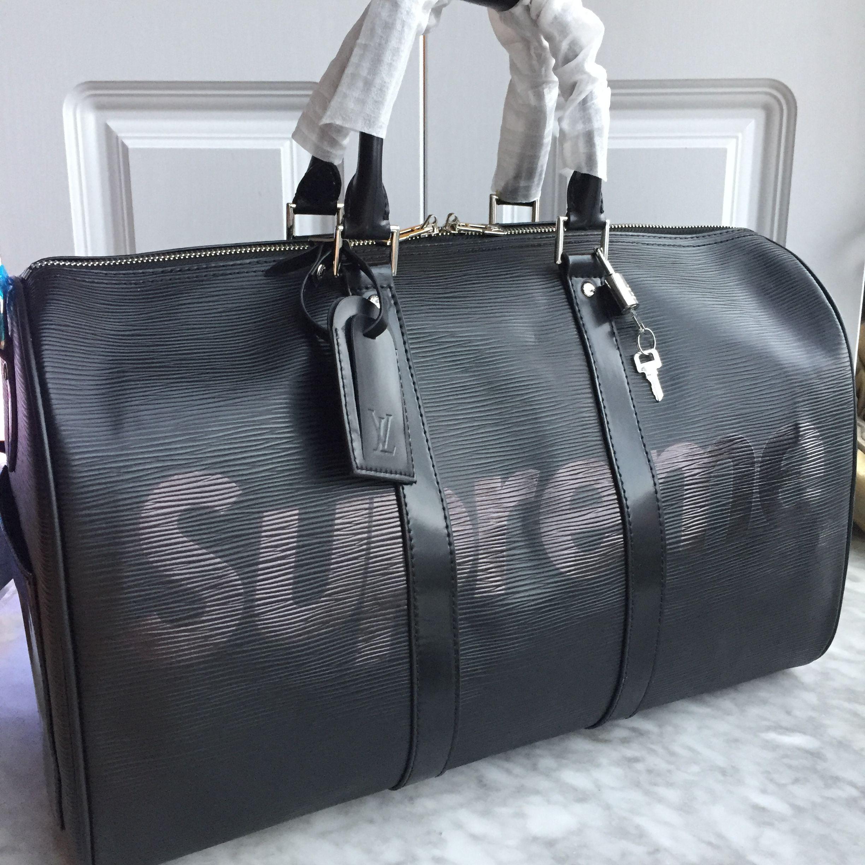 9b76bd957b7 Louis Vuitton lv supreme keepall luggage travel bag epi leather ...