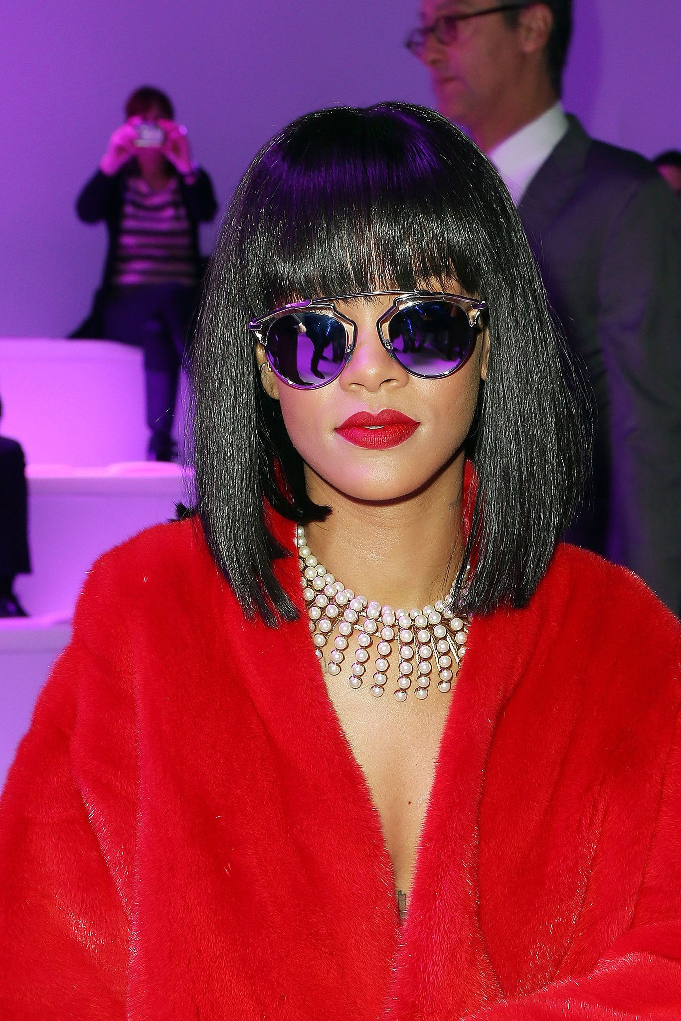 04eef045b737 Rihanna is a showstopper in these bold  sunglasses.