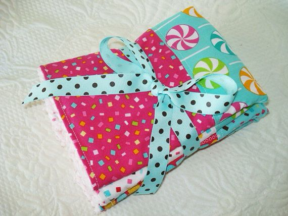 Baby Girl Burp Cloths - Set of Two - Teal - Pink - Lolli Pops - Gum Drops - Chenille -  Sprinkles on Etsy, $11.00