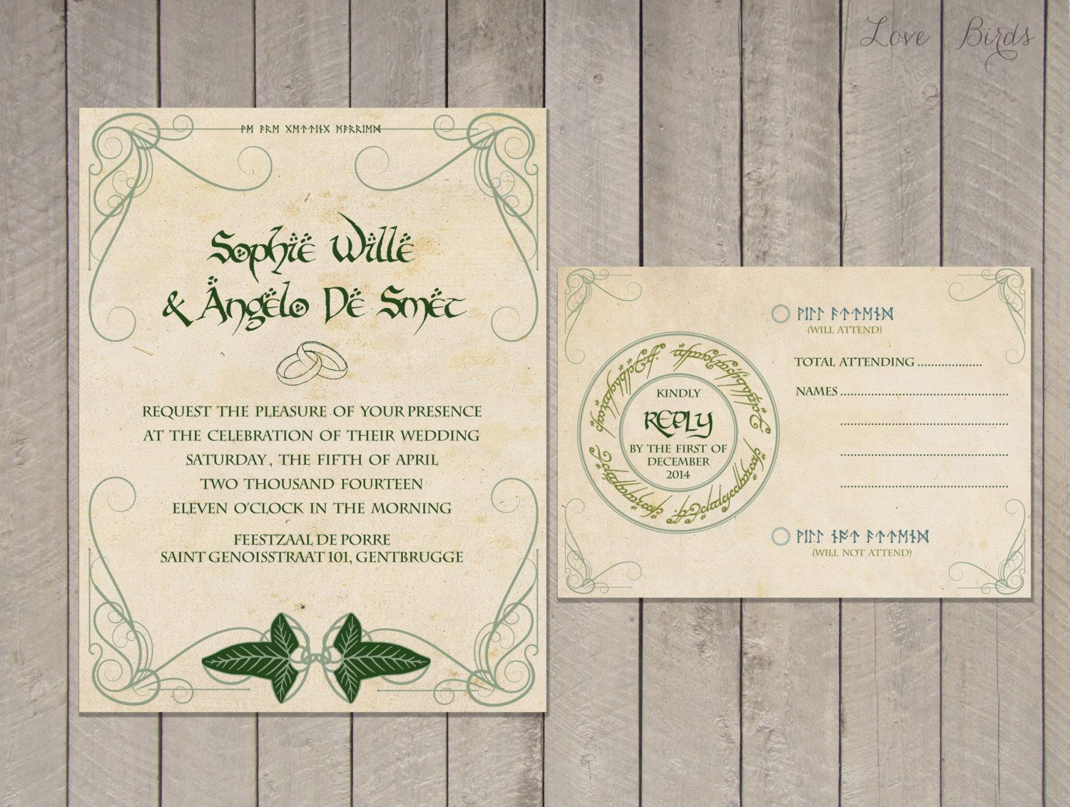 Lord of the Rings Wedding Invitations Part One Weddings Wedding