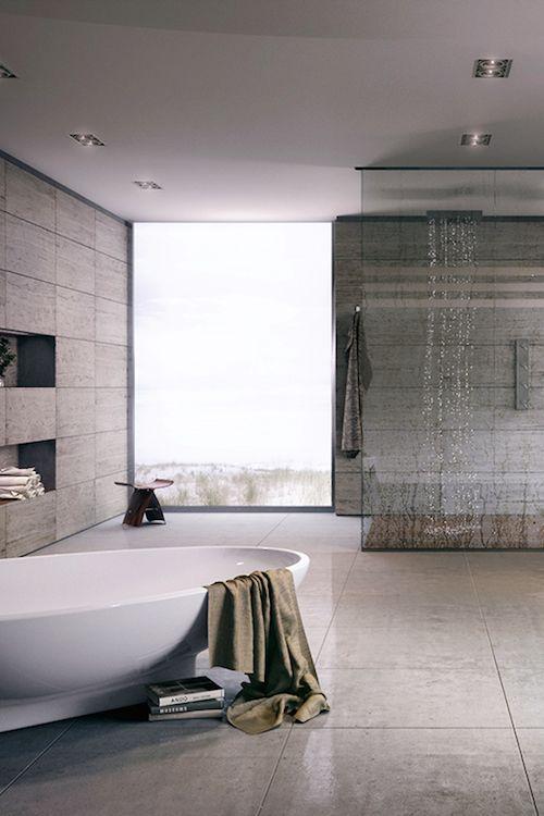 Salle de bain min rale et minimaliste niches aux for Salle de bain minimaliste