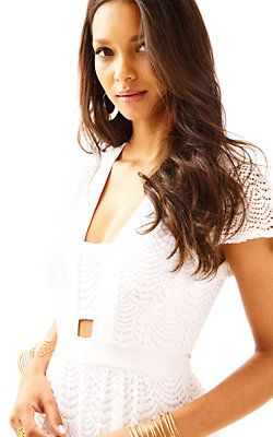 Ivana Lace Jumpsuit-Resort White Scalloped Shell Lace: $298