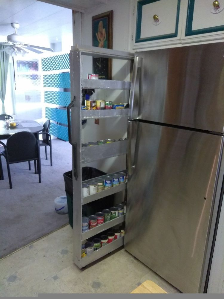 Skinny Shelf Next To Fridge Gap Kitchen Storage Space Storage Spaces Kitchen Design Diy