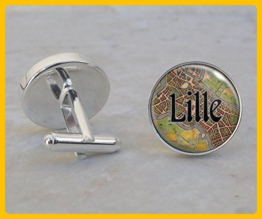 Lille France 1558 Map Sterling Silver Cufflinks Groom cufflinks