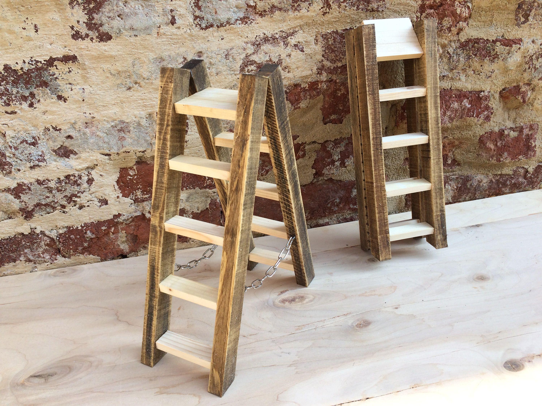 Scaletta In Legno Pieghevole : Wooden ladder folding furniture step stool jewel case gift idea