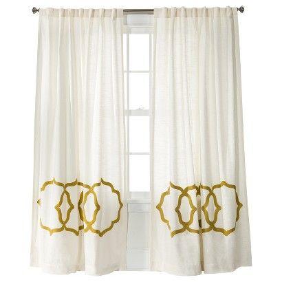 Threshold Home Target Cream Gold Fretwork Border Window Panel Beige New