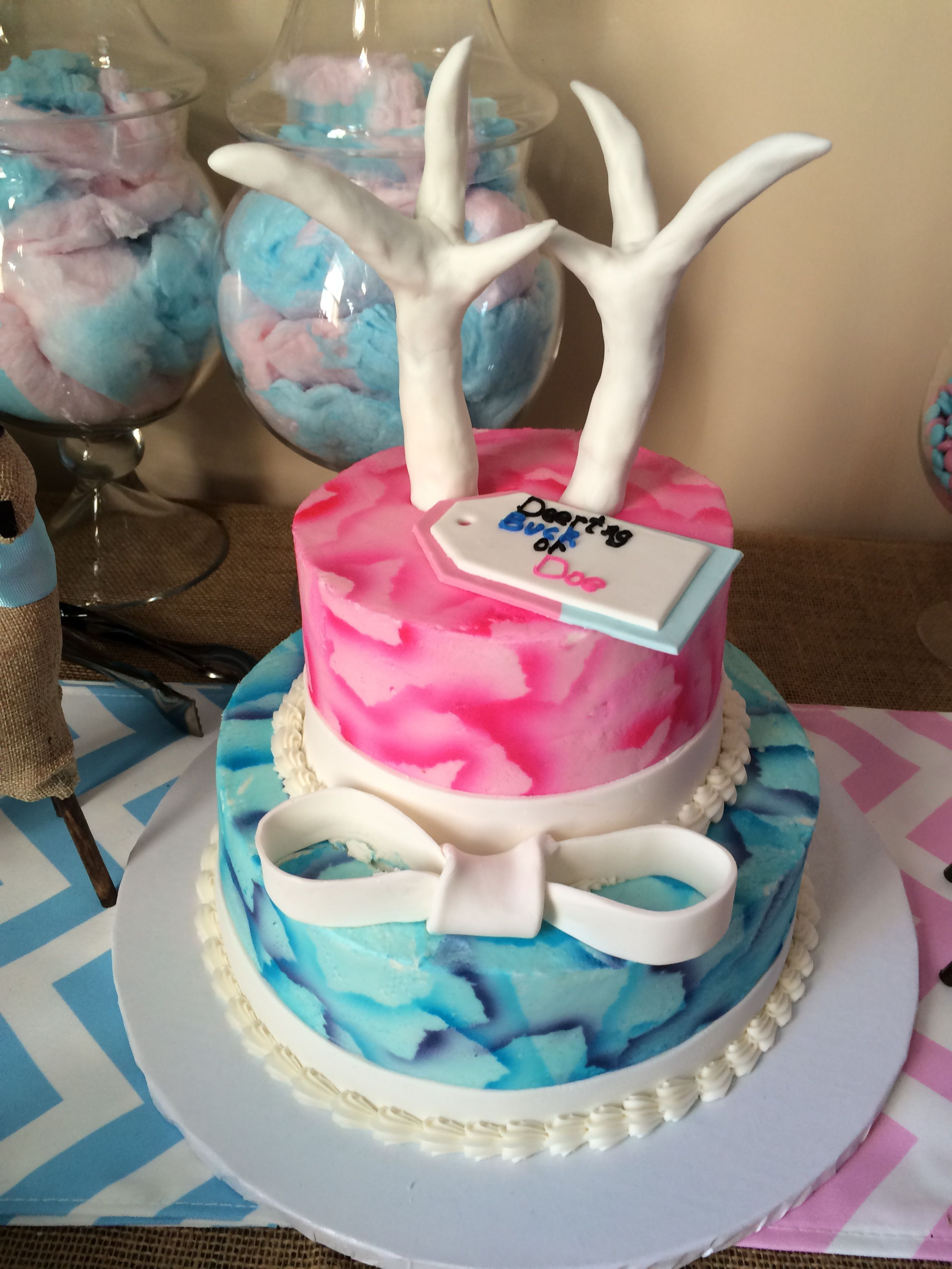 Love this cake Buck or Doe Gender Reveal Party