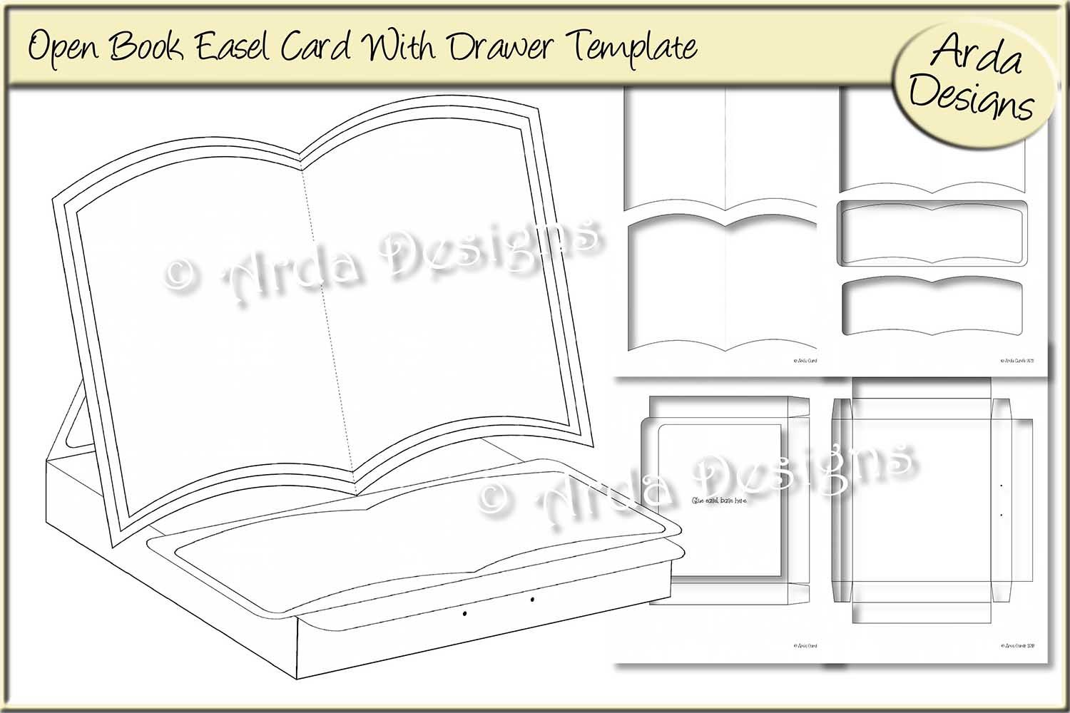 Open Book Easel Card Template Graphic By Arda Designs Creative Fabrica Easel Cards Card Template Open Book