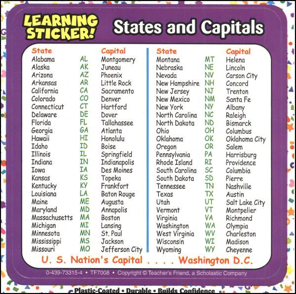 List 50 States Capitals Printable All And: 50 States Of America And Capitals List At Usa Maps
