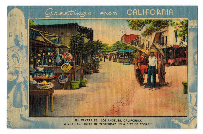 California vintage linen postcard Los Angeles Olvera in
