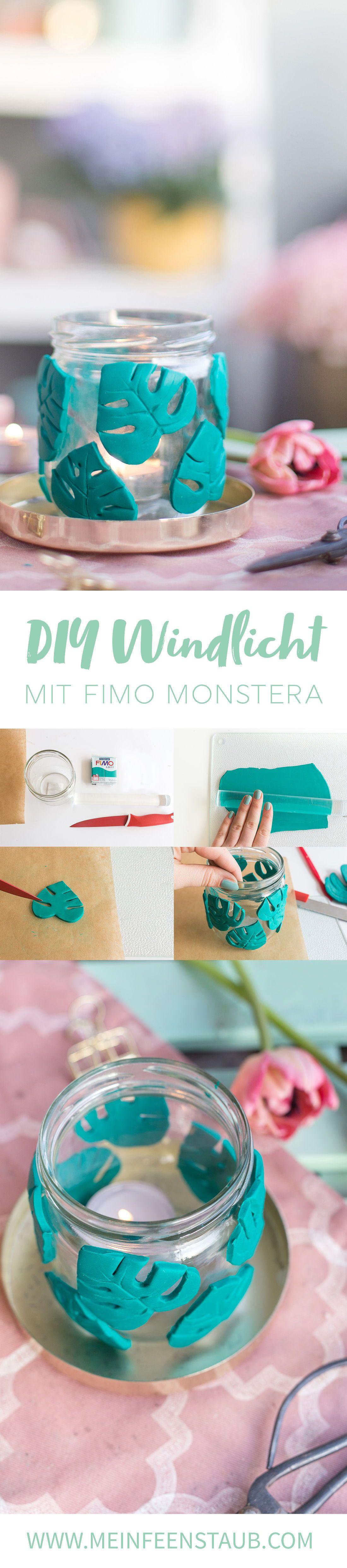 Diy Windlicht Mit Fimo Monstera Selbermachen