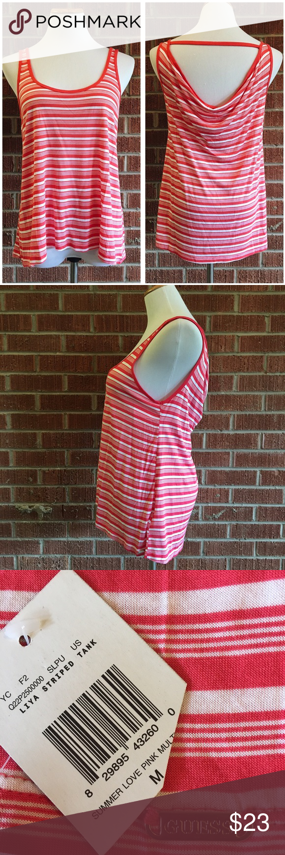 Guess Liya coral striped tank top with cute back Striped tank top