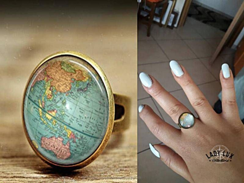Adjustable Antique Glass Globe Ring