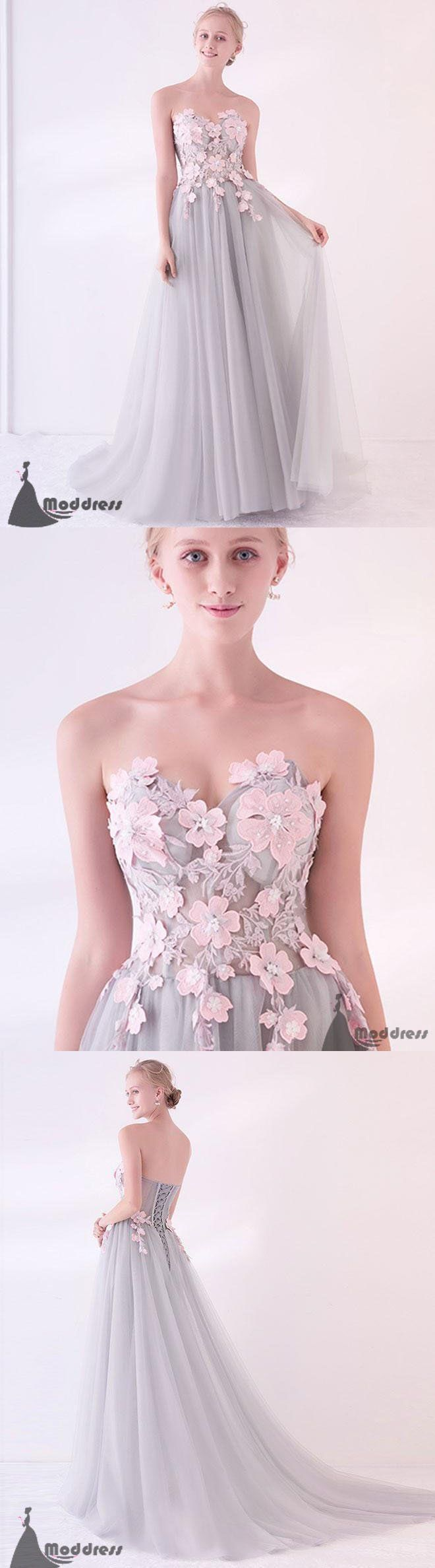 Grey Long Prom Dress Applique Tulle Evening Dress Sweetheart Formal ...