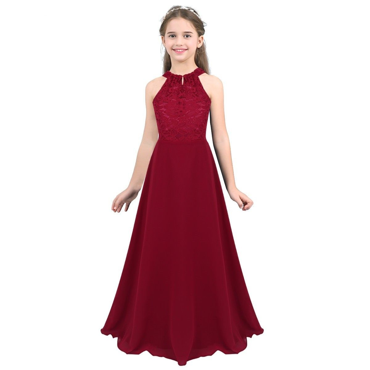 Flower Girls Dress Bridesmaid Wedding Party Princess Floral Lace Chiffon Gown
