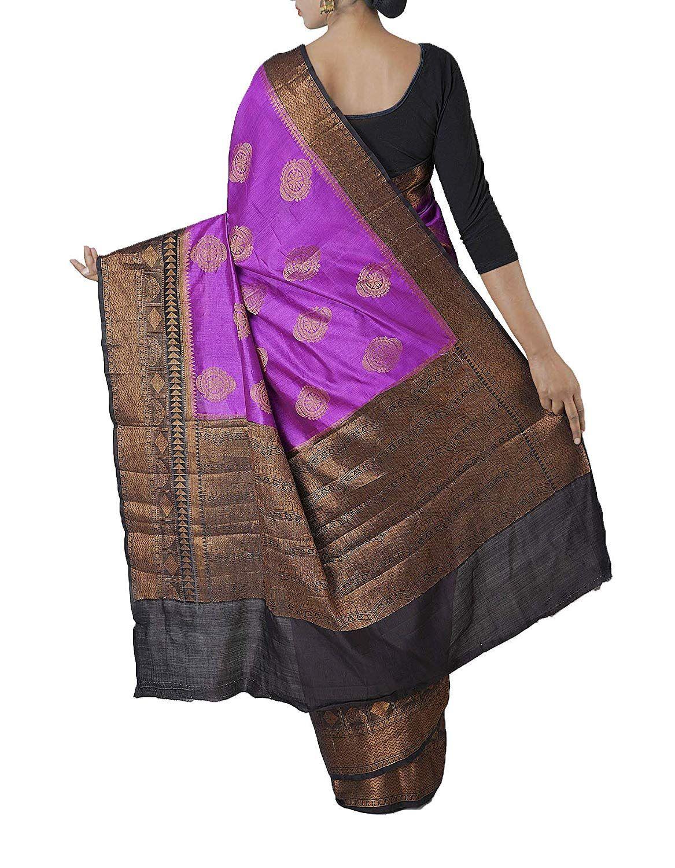 0da2a2ec88 Unnati Silks Women Pure Banarasi Silk Saree with Brocade work With Blouse  piece from the Weavers of Uttar Pradesh (UNM27680+Purple+Free Size):  Amazon.in: ...