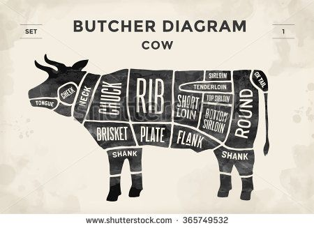 Cut of beef set. Poster Butcher diagram - Cow. Vintage typographic ...