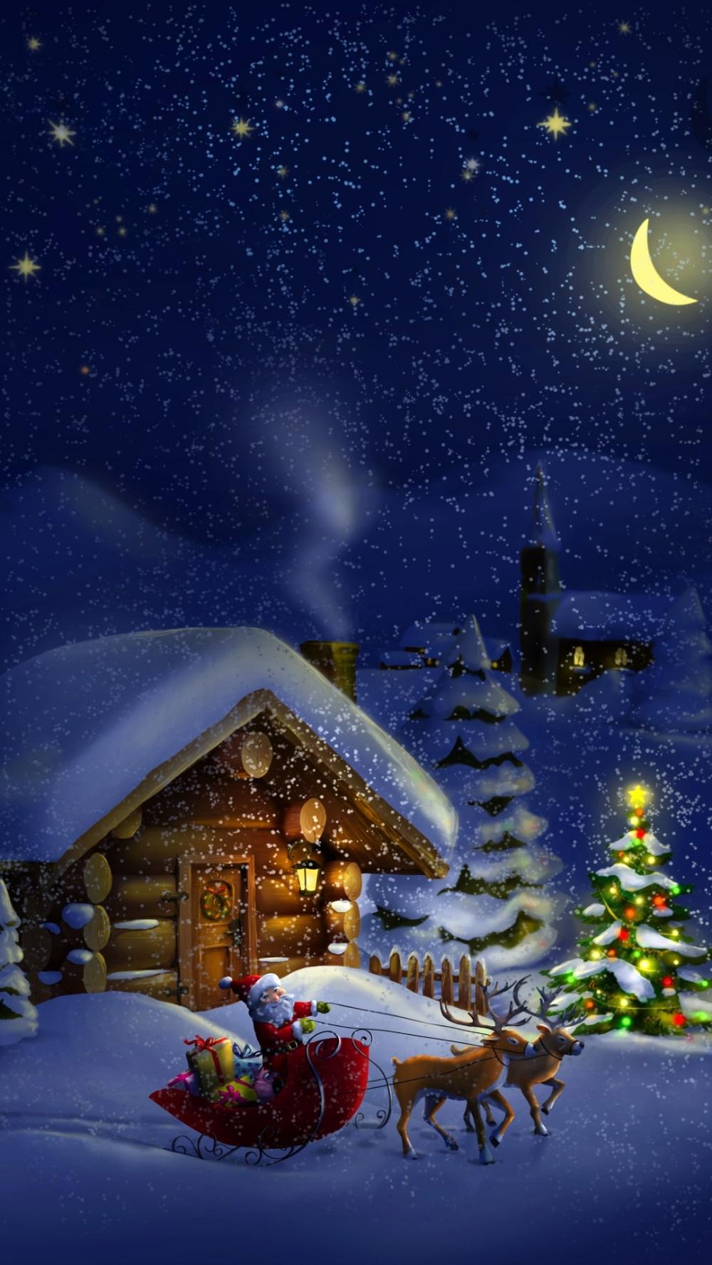 Christmas night with Santa 4K Navidad paisaje, Imágenes