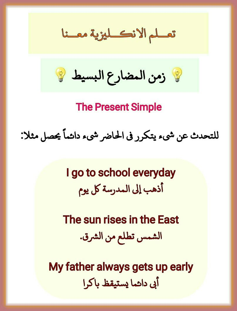 زمن المضارع البسيط The Present Simple Useful Phrase English Better تعلم الانكليزية معنا Learn English English Words Beautiful Words In English