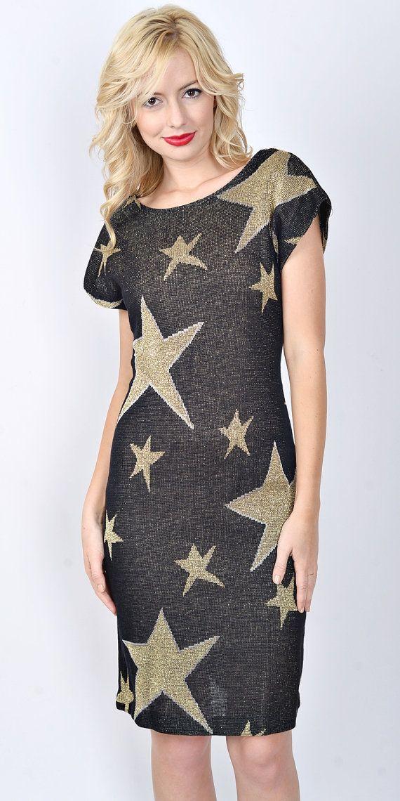 6f0875e525f Vintage 80s Black Gold Retro Dress Star print by thekissingtree ...
