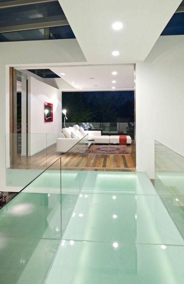 Transformez votre maison avec le plancher en verre! Glass railing - decoration maison salon moderne