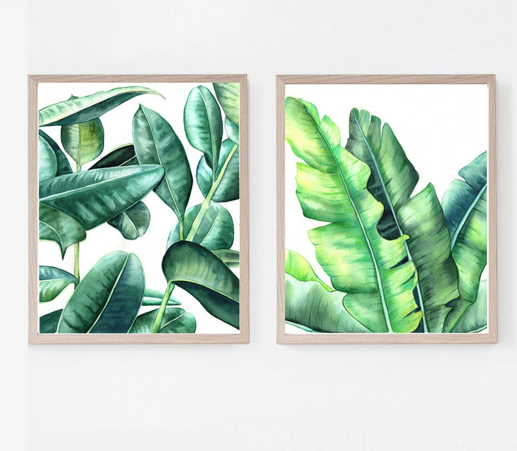Set Of 2 Botanical Print Watercolor Leaf Print Palm Leaves Banana