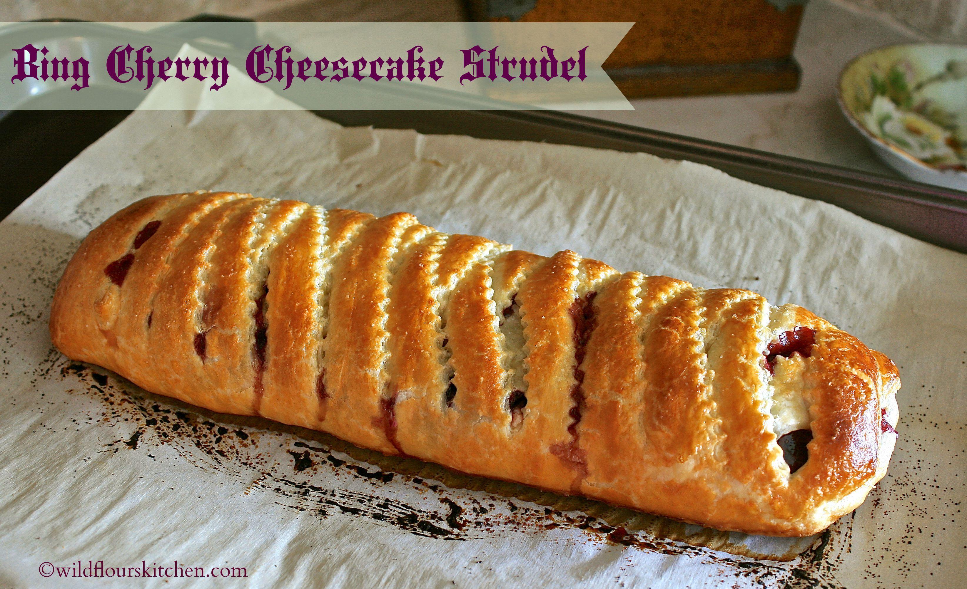 bing cherry cheesecake strudel
