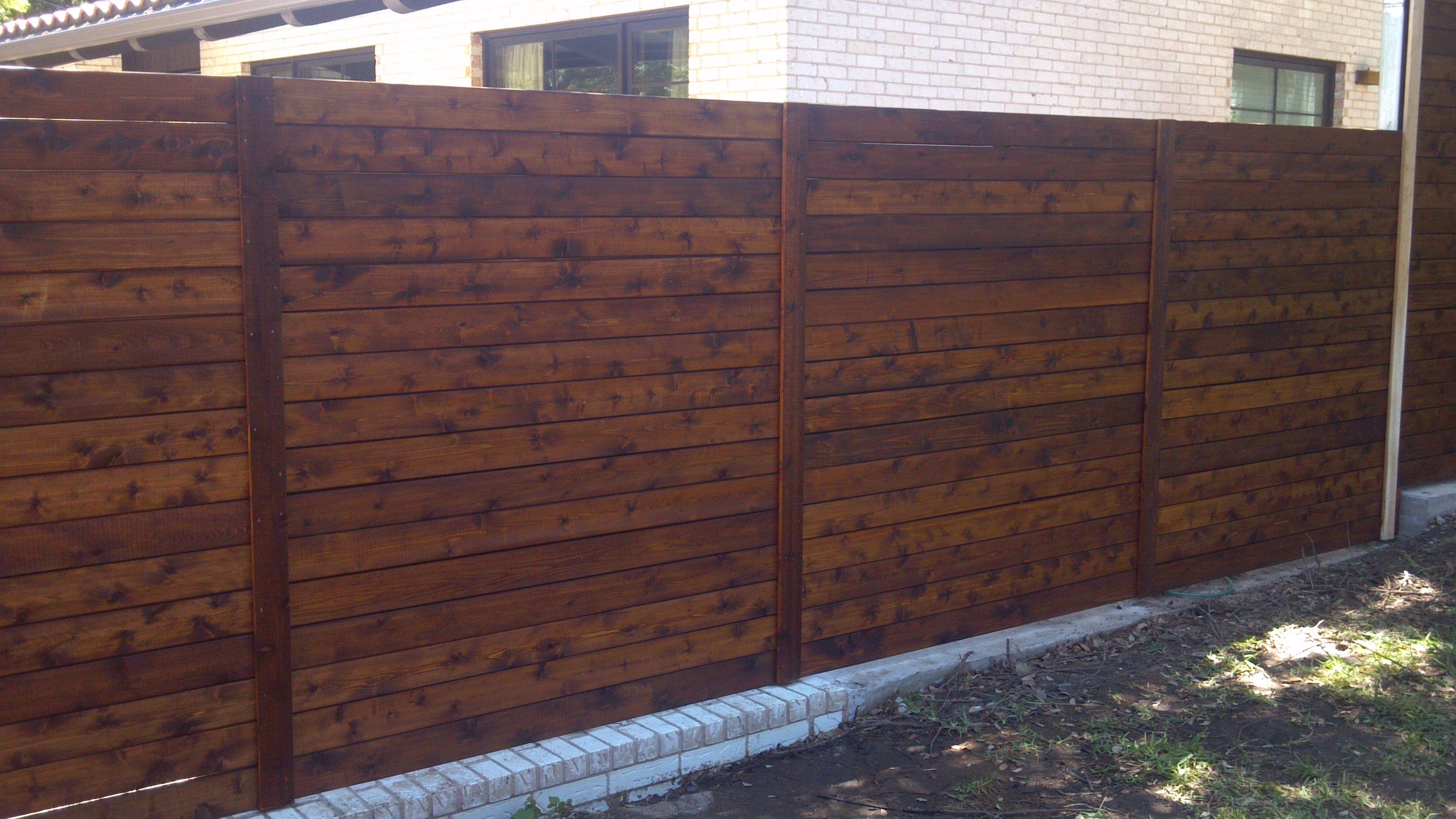 Dark Walnut Stained Horizontal Full Privacy Fence Dark Walnut Stain Wood Fence Design Wood Fence
