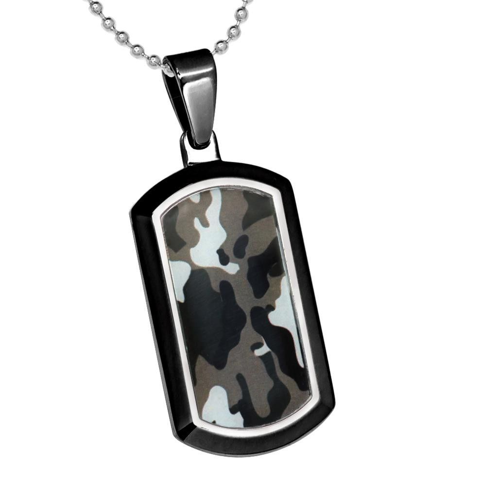 "Titanium Pendant Dog Tag High Polish Black Enamel Plated Commando Camo Inlay (FREE 18""Chain)"