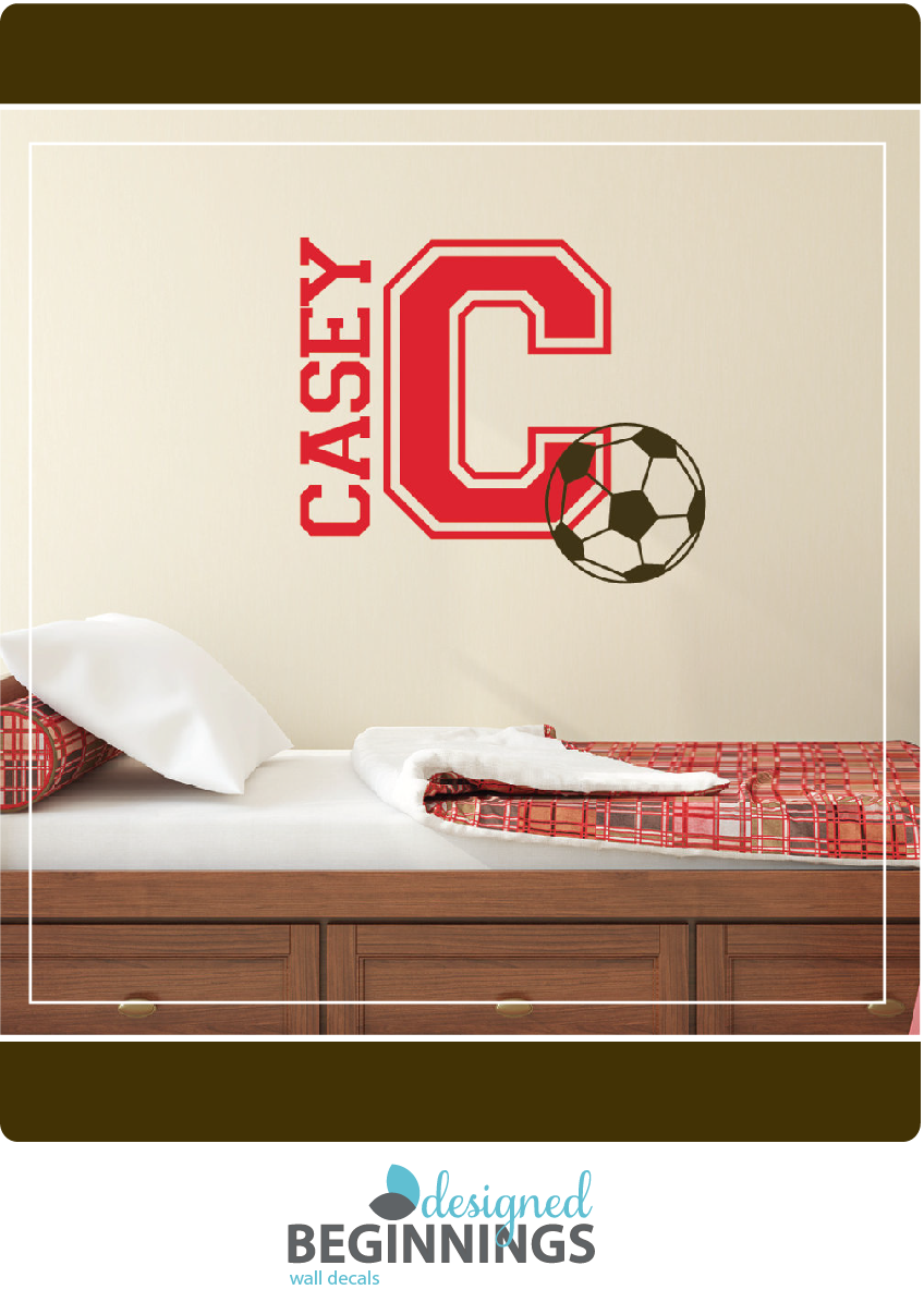 Soccer ball decal name wall decals soccer decor personalized wall